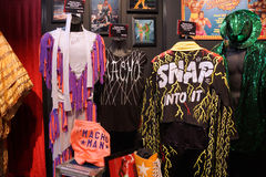 WWE Legend Macho Man outfit and photo displays at WWE Axxess eve Stock Image