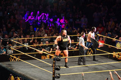 WWE NXT Superstar Rhyno stands on ring ropes before match Stock Image