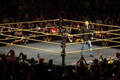 WWE Superstar Legend Triple H smiles a smirk as he stands in the. SAN JOSE - MARCH 27: WWE Superstar Legend Triple H smiles a smirk as he stands in the ring at royalty free stock photography
