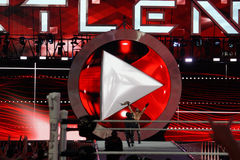 WWE Superstar Seth Rollins celebrates championship victory by ho Stock Images