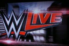 WWE viven logotipo en la pantalla Imágenes de archivo libres de regalías
