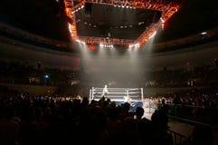 WWE Wrestler Dolph Ziggler and Baron Corbin battle outside of ri Stock Image