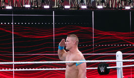 WWE Wrestler John Cena salutes crowd after winning  match Royalty Free Stock Photography