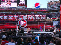 WWE Wrestler Rusev puts John Cena in The Accolade during wrestling match. SANTA CLARA - MARCH 29: WWE Wrestler Rusev puts John Cena in The Accolade during stock photos