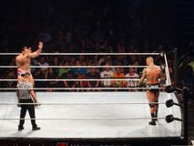 WWE Wrestler Rusev and wrestler Randy Orton stand ready to fight Royalty Free Stock Photo