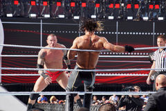 WWE Wrestler Seth Rollins bounces off the ropes as Randy Orton s Royalty Free Stock Photography