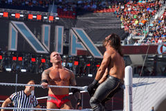 WWE Wrestler Seth Rollins gets crouched in top turnbuckle as Ran Royalty Free Stock Image
