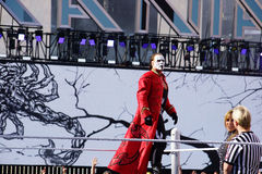 WWE wrestler Sting Stands on top of turnbuckle before match Royalty Free Stock Photography