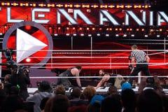 WWE Wrestler the Undertaker stares across at Bray Wyatt on the f. SANTA CLARA - MARCH 29: WWE Wrestler the Undertaker stares across at Bray Wyatt on the floor of Royalty Free Stock Image