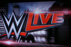 WWE Żyją loga na ekranie Obrazy Royalty Free