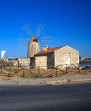 WWF Windmill, Trapani. TRAPANI, ITALY - AUGUST 04: View of the wwf windmill in the salt pans on August 04, 2015 Stock Photo