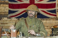WWI British Army Officer at his desk. BELORADO, BURGOS, SPAIN - DECEMBER 14: Madrid based Imperial Service reenactment group crew shows how is life in a World Royalty Free Stock Images