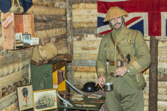 WWI British Army Officer in his office. BELORADO, BURGOS, SPAIN - DECEMBER 14: Madrid based Imperial Service reenactment group crew shows how is life in a World Royalty Free Stock Photography