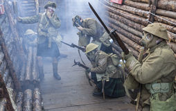 WWI British Army soldiers stand ready under poison gas attack wh. BELORADO, BURGOS, SPAIN - DECEMBER 14: Madrid based Imperial Service reenactment group crew Stock Photography