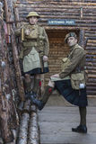WWI British Army soldiers at trench complex Stock Image