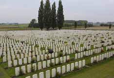 WWI Graves of Brave Commonwealth Soldiers. Graves of courageous Commonwealth soldiers who were killed in the Ypres Salient during WWI Royalty Free Stock Photo