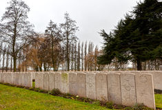 WWI headstones graves Lijssenhoek Cemetery,. Great War headstones of graves at Lijssenhoek cemetery near Poperinge in Flanders Fields, Belgium. The cemetery of Stock Photography