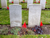 Китайские надгробные камни WWI на кладбище Lijssenhoek, Фландрии Fields Стоковые Фотографии RF