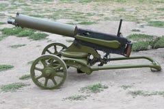 WWI machine gun. With ammo box Stock Photos