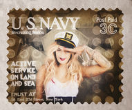 WWI recruiting postage stamp. Navy sailor girl Stock Image