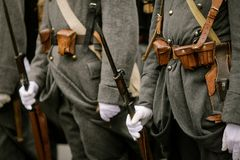 WWI reenactors. Take part at a military parade Stock Photo