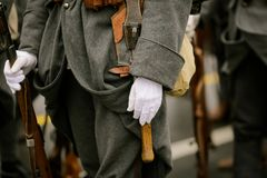WWI reenactors. Take part at a military parade Royalty Free Stock Photography