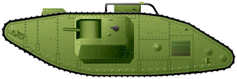 WWI tank British Mark V. WWI tank realistic vector illustration, World War I British Mark V heavy tank, used in action in the Great War and in the Russian Civil Royalty Free Stock Photo