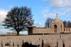 WWI Tyne Cot Cemetery nei campi delle Fiandre, Belgio Fotografia Stock