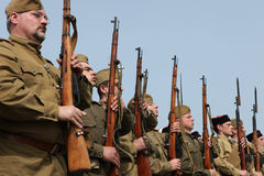 WWII争斗的再制定在Orechov的 图库摄影