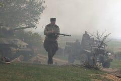 WWII争斗的再制定在Orechov的 免版税库存图片