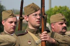 WWII争斗的再制定在Orechov的 免版税库存照片