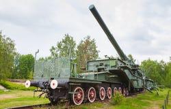 从WWII期间的苏联305 mm铁路枪 图库摄影