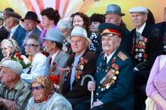 WWII的退伍军人在游行期间的 免版税库存照片