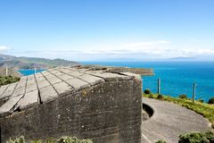 WWII Νέα Ζηλανδία μπαταρία πυροβολικού στοκ εικόνα