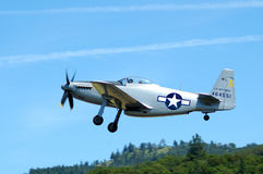 WWII Airplanes. P-51D Mustang World War II aircraft at a airshow in Oregon stock photos