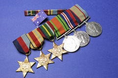 WWII Australian military army corps medals. And memorabillia for ANZAC Day April 25, Remembrance Day November 11, or Australian military Stock Photography