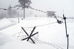 WWII barbwire defences Royalty Free Stock Images