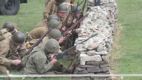 WWII Battle Reenactment stock video