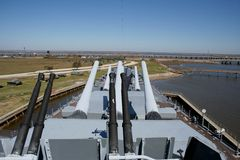 WWII Battleship. USS Alabama battleship memorial, guns pointed skyward Royalty Free Stock Photos