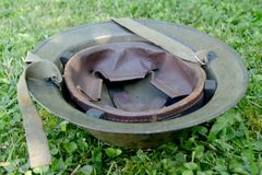 Wwii british helment on the grass Stock Image