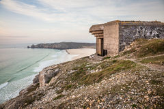WWII Bunker France. Abandonned WWII bunker on the Atlantic coastline of north western France Royalty Free Stock Images