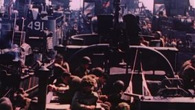 WWII Dday – Soldiers are transported by ships stock video footage