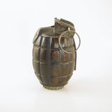 WWII Era Hand Grenade. A World War Two era British hand grenade known as a Mills Bomb stock photo