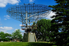 WWII Era Radar dish. A large, world war two era radar dish type AN/FPS-508 stock image