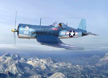 WWII Fighter Plane Warbird Pilot, Military stock photography