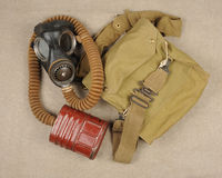 WWII gas mask. A WWII British gas mask with haversack Stock Image