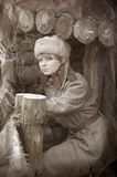WWII girl soldier. WWII reenacting.In Kiev, Ukraine stock photo