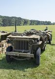 WWII Jeep Front in grass field stock photography