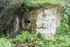 WWII Loophole (once inside a pub). Second World War pillbox built within a public house the White Lion – pub later demolished Stock Photo