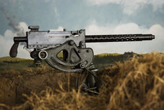WWII Machine Gun in a trench, with painted landscape Stock Images